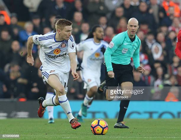 Duncan Watmore of Sunderland wearing rainbow shoelaces during the Premier League match between Liverpool and Sunderland at Anfield on November 26...
