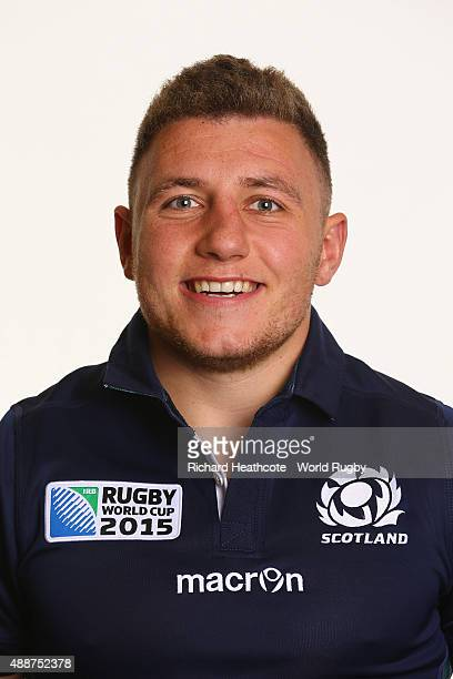 Duncan Weir of Scotland during the Scotland Rugby World Cup 2015 squad photo call at the Hilton Puckrup Hall Hotel on September 17 2015 in Tewkesbury...