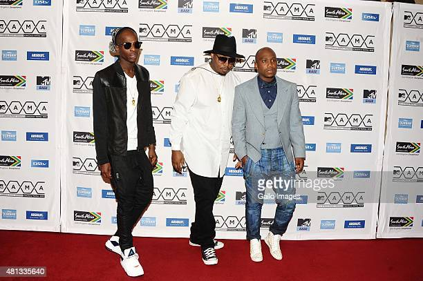 Duncanformer Generations actor Anga and Big Nuz seen on the red carpet at the 2015 MTV Africa Music Awards on July 182015 at the Durban International...