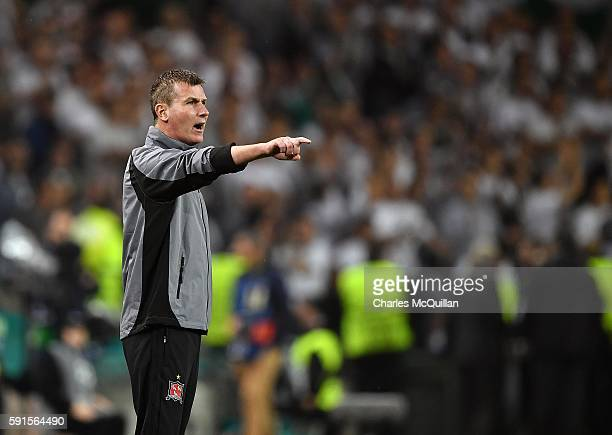 Dundalk FC coach Stephen Kenny during the Champions League qualifying round game between Dundalk and Legia Warsaw at Aviva Stadium on August 17 2016...