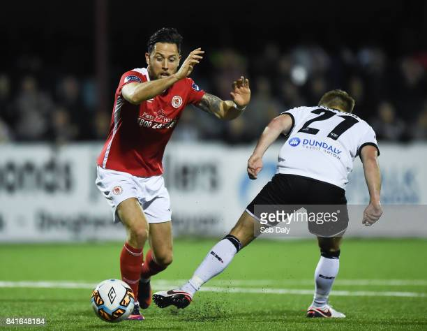 Dundalk Ireland 1 September 2017 Billy Dennehy of St Patricks Athletic in action against Conor Clifford of Dundalk during the SSE Airtricity League...