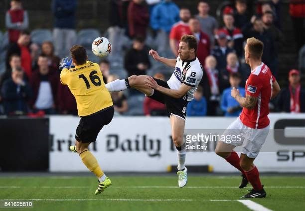 Dundalk Ireland 1 September 2017 David McMillan of Dundalk in action against Barry Murphy of St Patricks Athletic during the SSE Airtricity League...