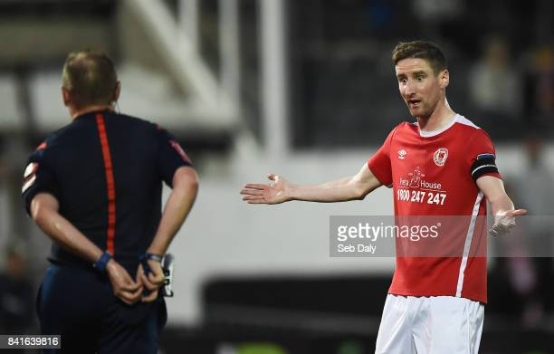 Dundalk Ireland 1 September 2017 Ian Bermingham of St Patricks Athletic remonstrates with referee James McKell before being shown a red card during...