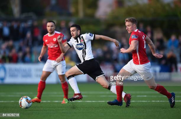 Dundalk Ireland 1 September 2017 Michael Duffy of Dundalk in action against Paul OConor of St Patricks Athletic during the SSE Airtricity League...