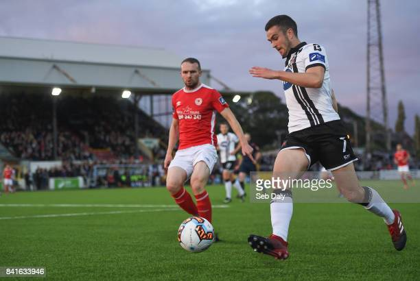 Dundalk Ireland 1 September 2017 Michael Duffy of Dundalk in action against Conan Byrne of St Patricks Athletic during the SSE Airtricity League...