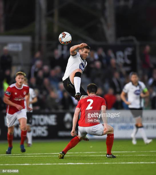 Dundalk Ireland 1 September 2017 Patrick McEleney of Dundalk in action against Michael Barker of St Patricks Athletic during the SSE Airtricity...