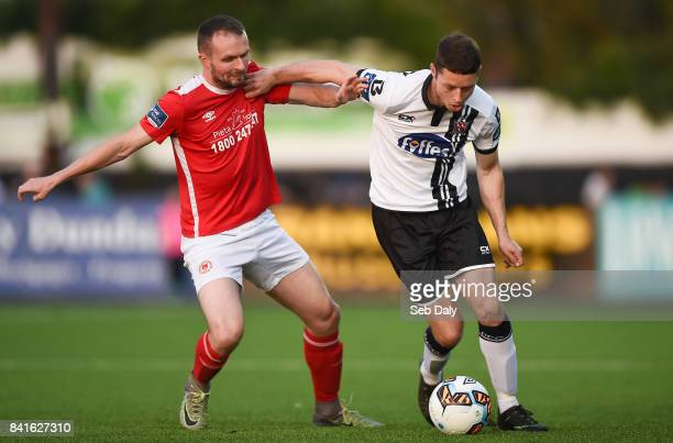 Dundalk Ireland 1 September 2017 Shane Grimes of Dundalk in action against Conan Byrne of St Patricks Athletic during the SSE Airtricity League...