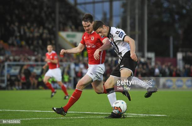 Dundalk Ireland 1 September 2017 Shane Grimes of Dundalk in action against Michael Barker of St Patricks Athletic during the SSE Airtricity League...
