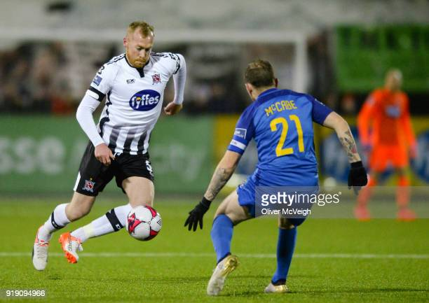 Dundalk Ireland 16 February 2018 Chris Shields of Dundalk in action against Gary McCabe of Bray Wanderers between Dundalk and Bray Wanderers at Oriel...
