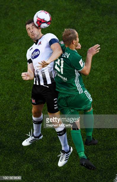 Dundalk Ireland 19 July 2018 Brian Gartland of Dundalk in action against Nikita Andreev of Levadia during the UEFA Europa League 1st Qualifying Round...