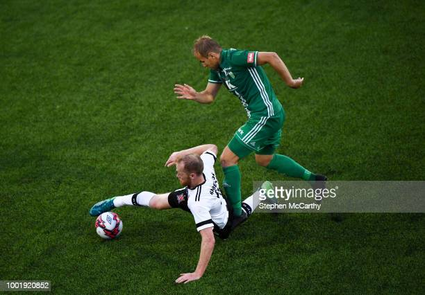 Dundalk Ireland 19 July 2018 Chris Shields of Dundalk in action against Nikita Andreev of Levadia during the UEFA Europa League 1st Qualifying Round...