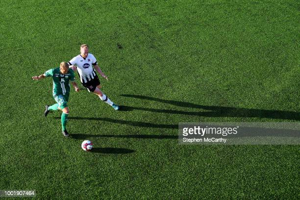 Dundalk Ireland 19 July 2018 Nikita Andreev of Levadia in action against Chris Shields of Dundalk during the UEFA Europa League 1st Qualifying Round...