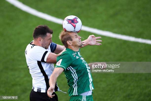 Dundalk Ireland 19 July 2018 Nikita Andreev of Levadia in action against Brian Gartland of Dundalk during the UEFA Europa League 1st Qualifying Round...