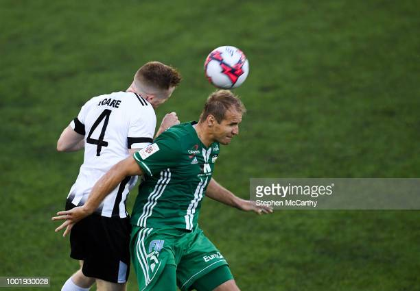 Dundalk Ireland 19 July 2018 Nikita Andreev of Levadia in action against Sean Hoare of Dundalk during the UEFA Europa League 1st Qualifying Round...