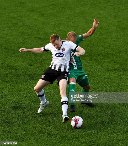 Dundalk Ireland 19 July 2018 Sean Hoare of Dundalk in action against Nikita Andreev of Levadia during the UEFA Europa League 1st Qualifying Round...