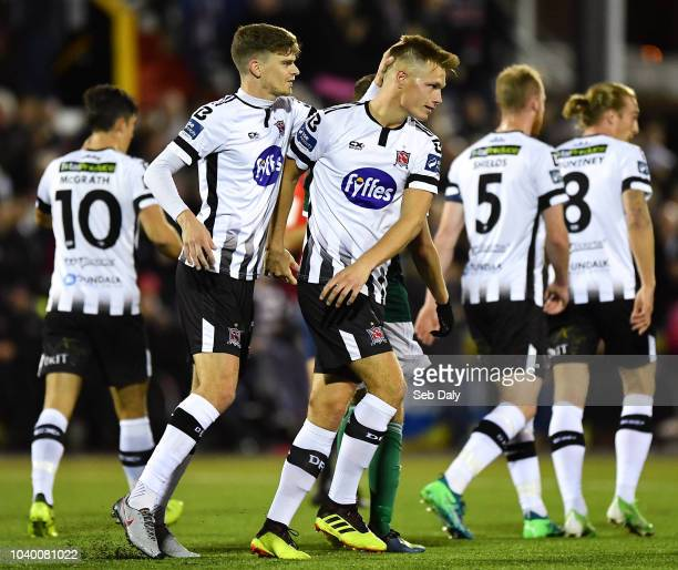 Dundalk Ireland 25 September 2018 Daniel Cleary of Dundalk centre is congratulated by teammate Sean Gannon after scoring his side's first goal during...