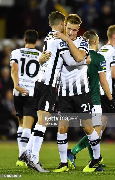 Dundalk Ireland 25 September 2018 Daniel Cleary of Dundalk right is congratulated by teammate Sean Gannon after scoring his side's first goal during...