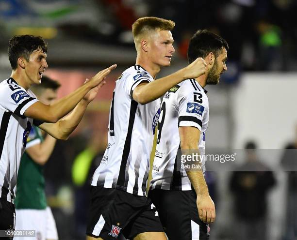 Dundalk Ireland 25 September 2018 Daniel Cleary of Dundalk right celebrates after scoring his side's first goal during the SSE Airtricity League...
