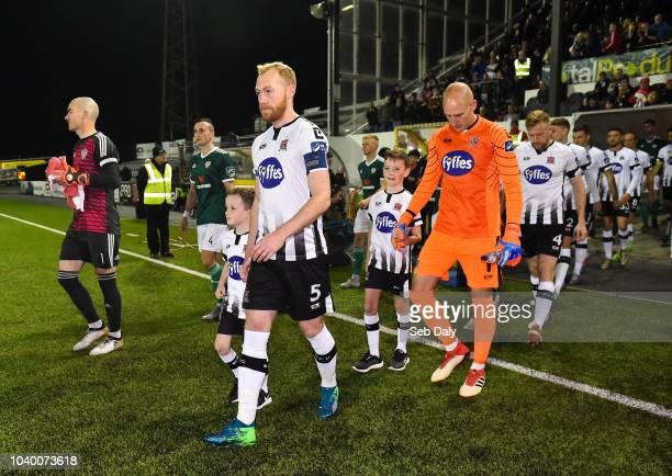 Dundalk Ireland 25 September 2018 Dundalk captain Chris Shields leads his side out prior to the SSE Airtricity League Premier Division match between...