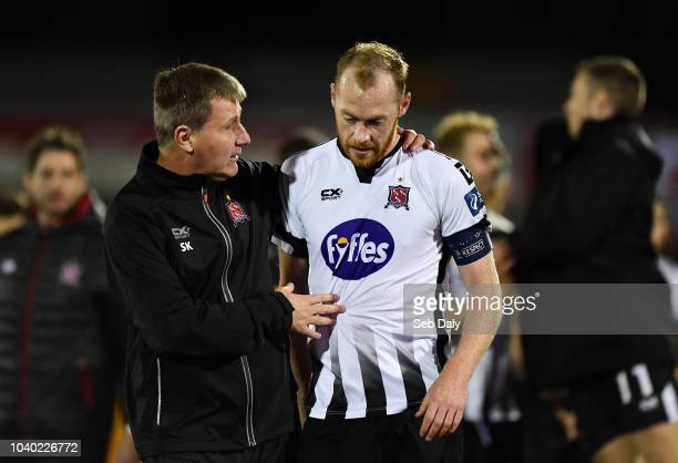 Dundalk Ireland 25 September 2018 Dundalk manager Stephen Kenny and Chris Shields following their side's victory during the SSE Airtricity League...