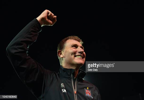 Dundalk Ireland 25 September 2018 Dundalk manager Stephen Kenny celebrates following his side's victory during the SSE Airtricity League Premier...
