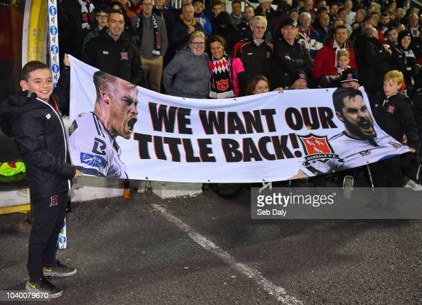Dundalk Ireland 25 September 2018 Dundalk supporters hold up a banner prior to the SSE Airtricity League Premier Division match between Dundalk and...
