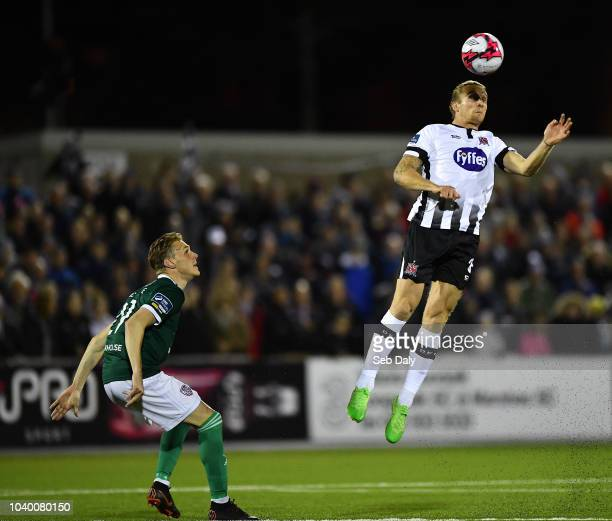 Dundalk Ireland 25 September 2018 John Mountney of Dundalk in action against Kevin McHattie of Derry City during the SSE Airtricity League Premier...