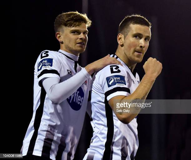 Dundalk Ireland 25 September 2018 Patrick McEleney of Dundalk right celebrates with teammate Sean Gannon after scoring his side's second goal during...