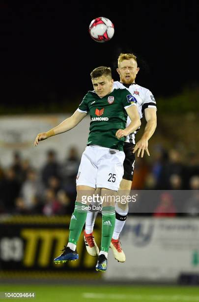 Dundalk Ireland 25 September 2018 Ronan Hale of Derry City in action against Sean Hoare of Dundalk during the SSE Airtricity League Premier Division...