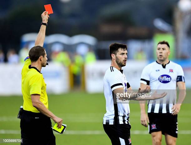 Dundalk Ireland 26 July 2018 Patrick Hoban of Dundalk is mistakenly shown a red card by referee Harald Lechner during the UEFA Europa League 2nd...