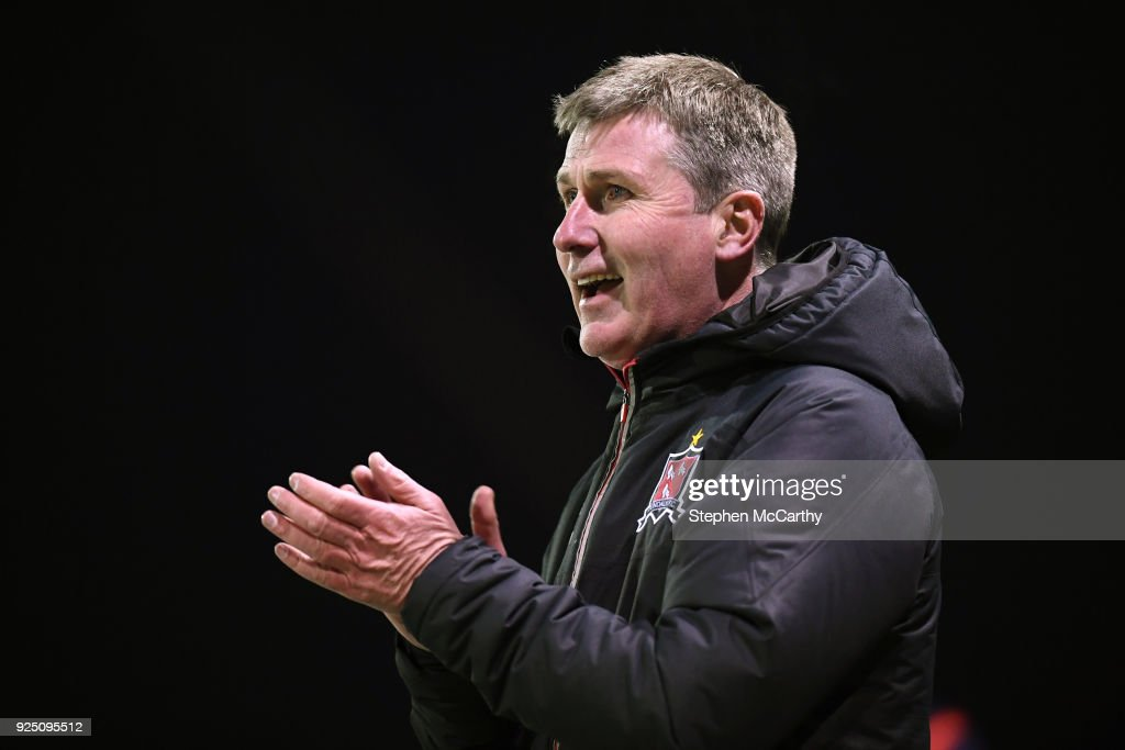 Dundalk , Ireland - 27 February 2018; Dundalk manager Stephen Kenny reacts to his side's eight goal during the SSE Airtricity League Premier Division match between Dundalk and Limerick at Oriel Park in Dundalk, Co Louth.