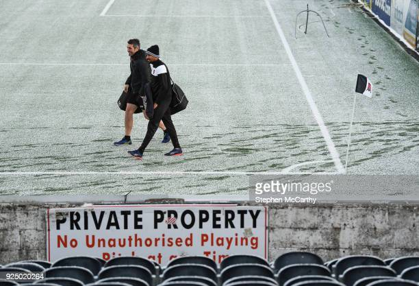 Dundalk Ireland 27 February 2018 Dundalk's Marco Tagbajumi and goalkeeping coach Steve Williams arrive prior to the SSE Airtricity League Premier...