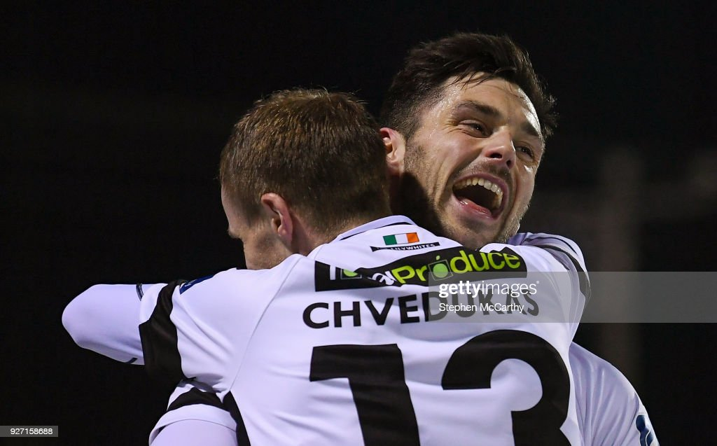 Dundalk , Ireland - 27 February 2018; Karolis Chvedukas, 13, is congratulated by his Dundalk team-mate Patrick Hoban after scoring their fifth goal during the SSE Airtricity League Premier Division match between Dundalk and Limerick at Oriel Park in Dundalk, Co Louth.