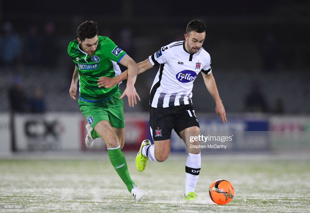 Dundalk , Ireland - 27 February 2018; Robbie Benson of Dundalk in action against Eoin Wearen of Limerick during the SSE Airtricity League Premier Division match between Dundalk and Limerick at Oriel Park in Dundalk, Co Louth.