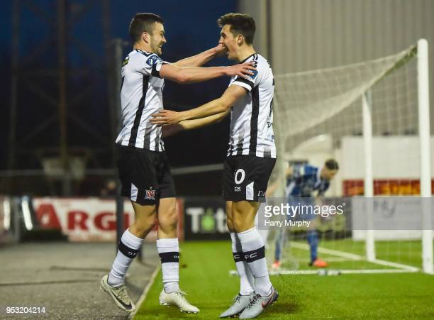 Dundalk Ireland 30 April 2018 Jamie McGrath of Dundalk celebrates after scoring his side's fifth goal with teammate Michael Duffy during the SSE...