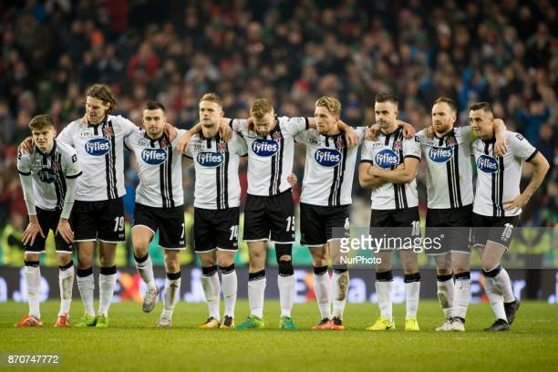 Dundalk players pictured during penalty shootouts during the Irish Daily Mail FAI Senior Cup Final between Dundalk FC and Cork City at Aviva Stadium...