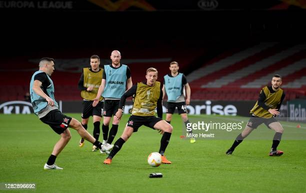 Dundalk players warm up prior to the UEFA Europa League Group B stage match between Arsenal FC and Dundalk FC at Emirates Stadium on October 29 2020...