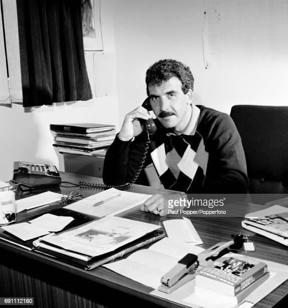 Dundee manager Jocky Scott at work in his office at Dens Park in Dundee circa August 1986