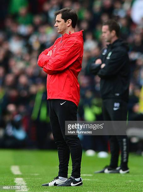 Dundee United manager Jackie McNamara during the Scottish League Cup Final between Dundee United and Celtic at Hamden Park on March 15 2015 in...