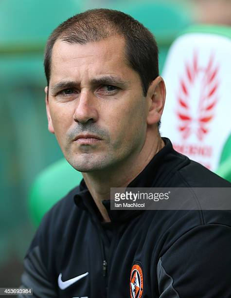 Dundee United manager Jackie McNamara looks on during the Scottish Premiership League Match between Celtic and Dundee United at Celtic Park on August...