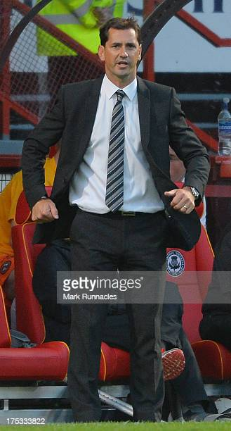Dundee United manager Jackie McNamara reacts during the Scottish Premiership League match between Partick Thistle and Dundee United at Firhill...