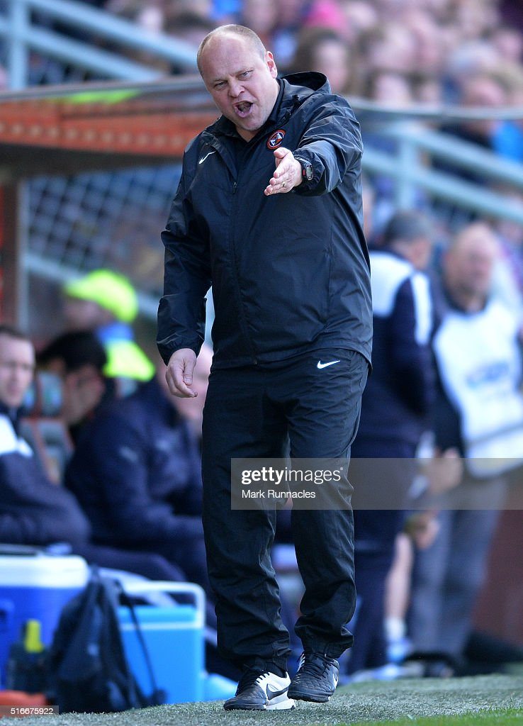 Dundee United manager Mixu Paatelainen gestures on the side line during the Ladbrokes Scottish Premiership match between Dundee United FC and Dundee FC at Tannadice Park on March 20, 2016 in Dundee, Scotland.