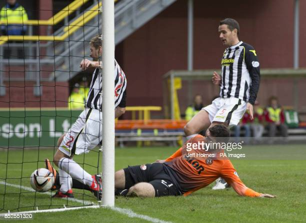 Dundee United Nadir Ciftci makes sure ball crosses line for the first goal during the Scottish Premier League match at Tannadice Park Dundee
