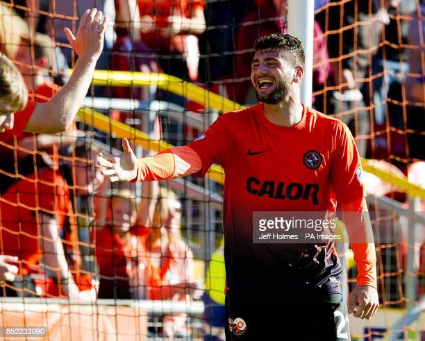 Dundee United's Nadir Ciftci celebrates his goal during the Scottish Premiership match at Tannadice Park Dundee