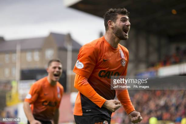 Dundee United's Nadir Ciftci celebrates his second goal during the Scottish Premier League match at Tannadice Park Dundee