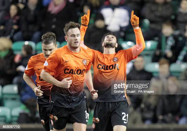 Dundee United's Nadir Ciftci celebrates scoring their first goal against Hibernian during the Scottish Premier League match at Easter Road Edinburgh