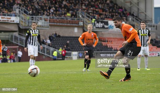 Dundee United's Nadir Ciftci scores from the penalty spot during the Scottish Premier League match at Tannadice Park Dundee