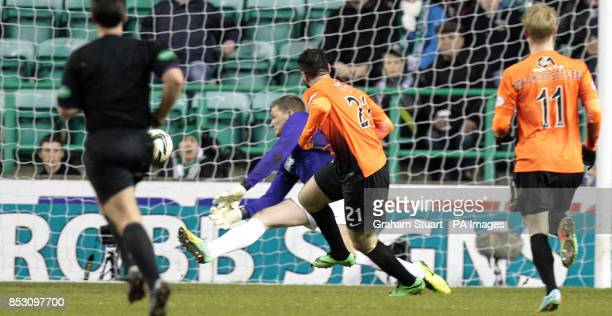 Dundee United's Nadir Ciftci scores their first goal against Hibernian during the Scottish Premier League match at Easter Road Edinburgh