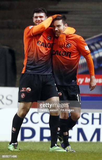 Dundee United's Ryan Dow celebrates his goal with team mate Nadir Ciftci during the Scottish Premiership match a Tannadice Park Dundee