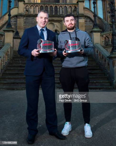 Montrose's Cammy Ballantyne is pictured with the Ladbrokes League Two Player of the Month award for November, with Jim Petrie winning the manager...